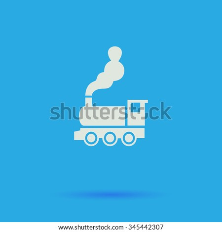 locomotive White flat vector simple icon on blue background with shadow  - stock vector