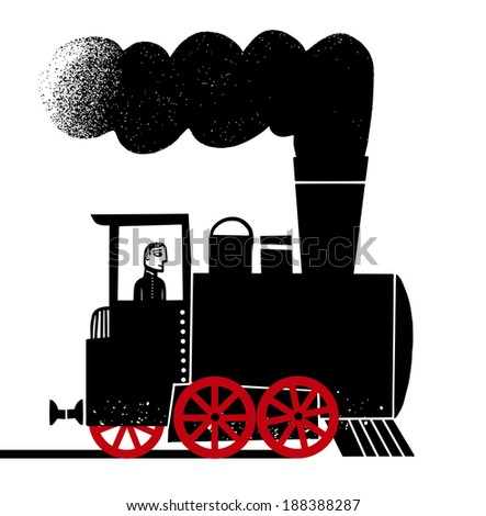 Locomotive with engineer - stock vector