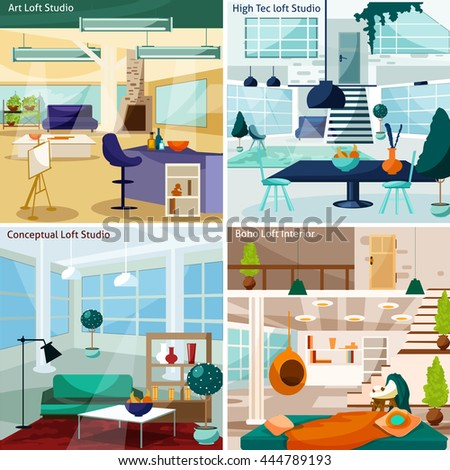 Loft Studio Interior Flat Concept Set  Isolated Vector Illustration - stock vector