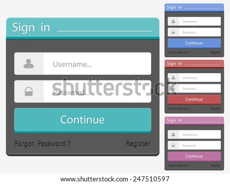 Log in Form - stock vector