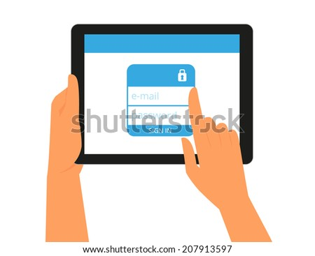 Logging into the account on tablet pc. Flat illustration of human hands hold tablet pc computer with authorization form for e-mail or social networks account - stock vector