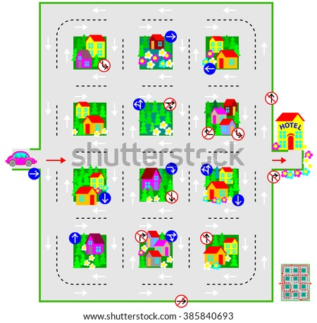 Logic puzzle with labyrinth. Draw the line from car to the hotel respecting traffic signs. U-turns are prohibited. Vector image. - stock vector