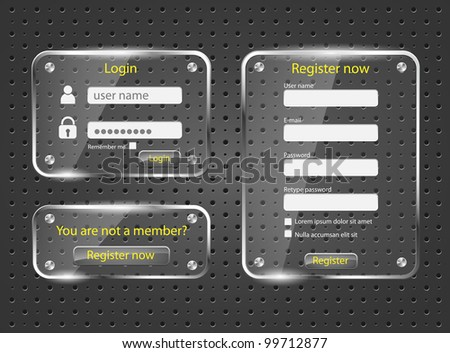 Login and register web glossy screens-vector - stock vector