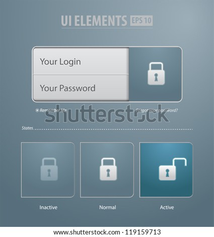 Login and register Web Window on gray background. Vector UI elemets - stock vector