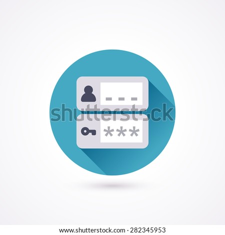 Login flat icon in a circle with long shadow - stock vector