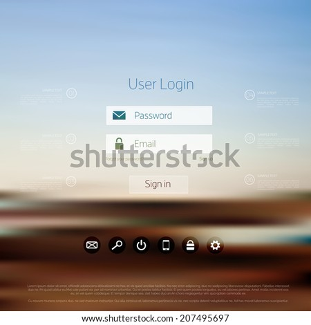 Login form page. with blurred background. Web site template, ui element. - stock vector