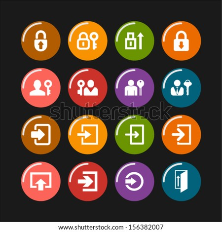 Login icon set - stock vector