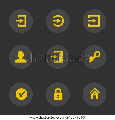 Login icons (yellow account) - stock vector