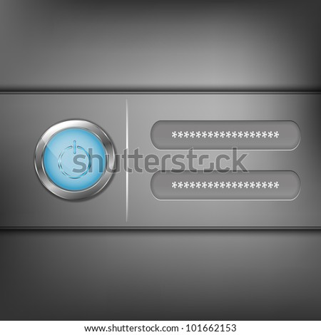 Login panel with blue enter button - stock vector