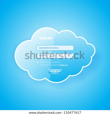 Login to my glossy blue cloud - stock vector