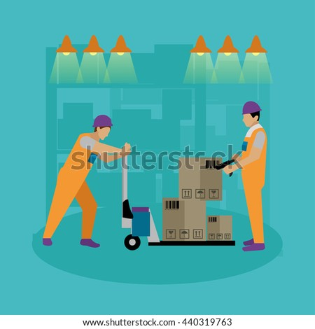 Logistic and delivery service concept banner. Warehouse workers. Vector illustration in flat style design. Delivery man working in warehouse and shipping products. - stock vector