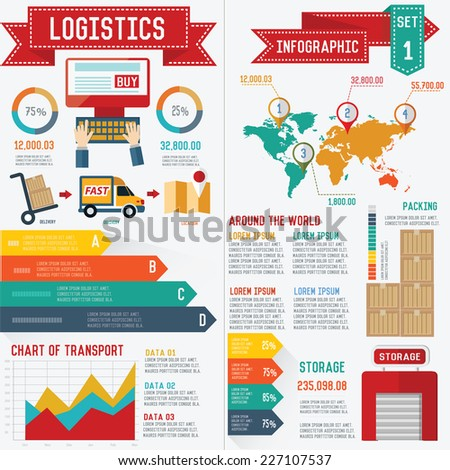 Logistic and transport info graphic design on white background,clean vector - stock vector