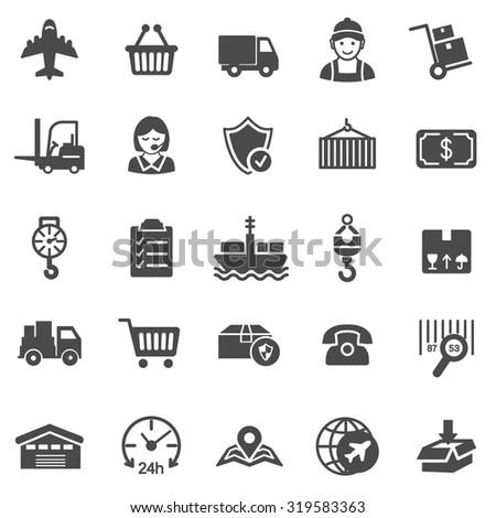 Logistic black icons set.Vector - stock vector