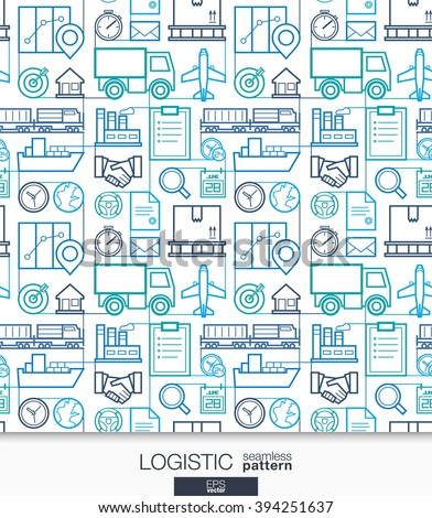 Logistic business wallpaper. Delivery and distribution seamless pattern. Tiling with thin line integrated web icons. Vector transportation illustration. Abstract background for website, presentation - stock vector