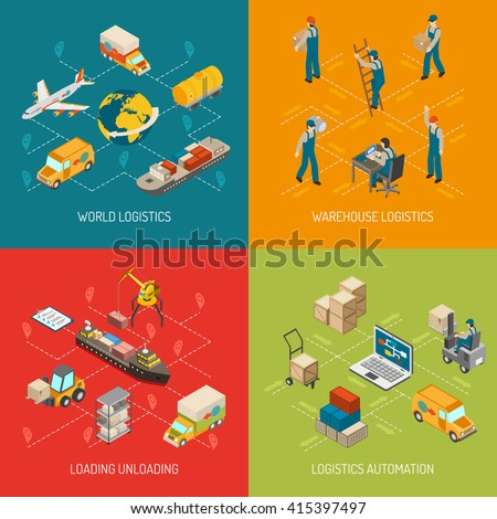 Logistic concept 4 isometric icons square composition poster with worldwide transportation and storage abstract isolated vector illustration - stock vector