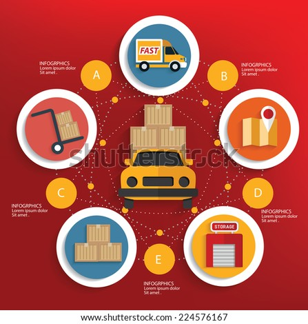 Logistic concept on red background,clean vector - stock vector