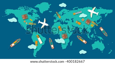 Logistic concept production process from factory to the shop. Top view world map with warehouse, ship, truck, aircraft and car. Wide flat vector illustration for info graphic, web, banner.  - stock vector