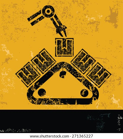 Logistic design on yellow background,grunge vector - stock vector