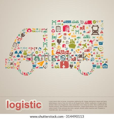 Logistic distribution supplier and transportation delivery infographic template layout design background icon in truck shape banner page for website or brochure, create by vector  - stock vector