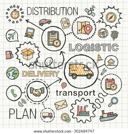 Logistic hand draw integrated color icons set. Vector sketch infographic illustration with line connected doodle hatch pictograms on paper: distribution, shipping, transport, services concepts - stock vector