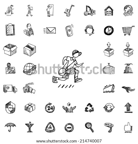 Logistic Hand Drawn icons - stock vector