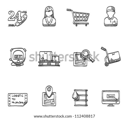 Logistic  icon series in sketch - stock vector
