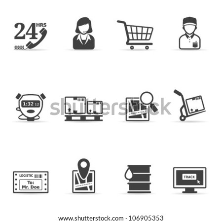Logistic  icon set in single color. Transparencies & gradient mesh used. Transparent shadows placed on separated layer. - stock vector