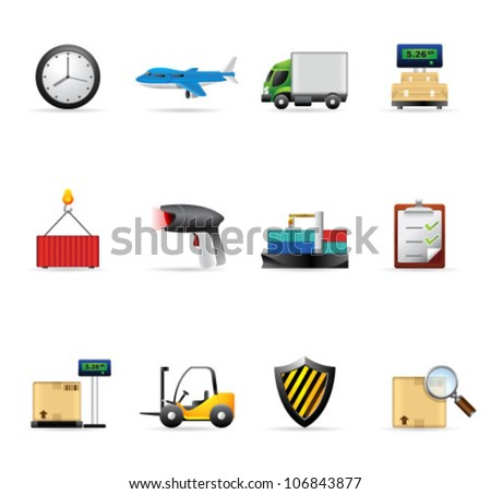 Logistic  icon set. Transparencies & gradient mesh used. Transparent shadows placed on separated layer. - stock vector