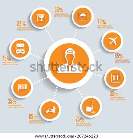 Logistic info graphic design concept yellow version,clean vector - stock vector