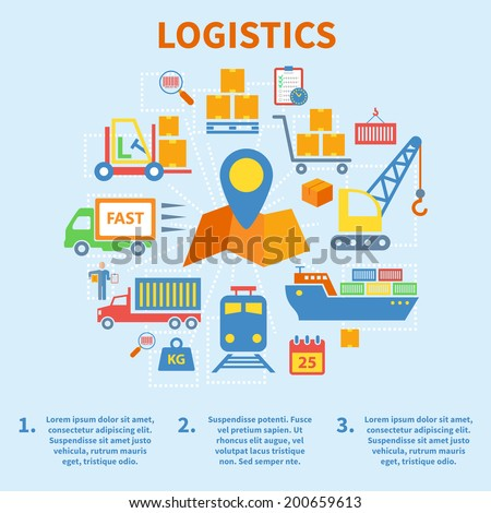 Logistic infographic flat icons set with map pin vector illustration - stock vector