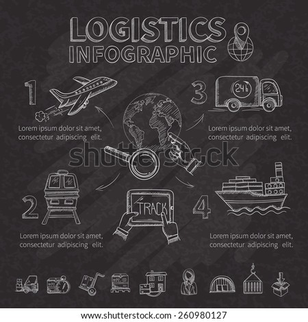 Logistic infographic set with chalkboard doodle shipping and transportation symbols vector illustration - stock vector