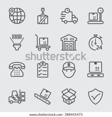 Logistic line icon - stock vector