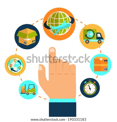 Logistic pointing hand and delivery network chain concept vector illustration - stock vector