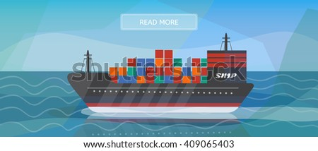 Logistic routes cargo ship banner. Logisticscargo ship banner for industry, web and print. Flat style vector illustration of a cargo ship. - stock vector