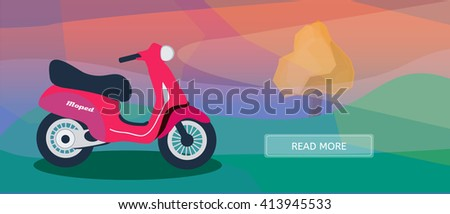 Logistic routes courier moped banner. Logistics scooter banner for industry, web and print. Flat style vector illustration of a courier moped. - stock vector