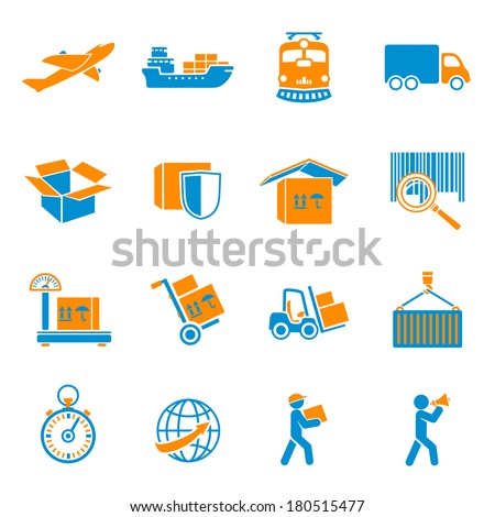 Logistic shipping delivery icons set of freight cargo truck export and import isolated vector illustration - stock vector