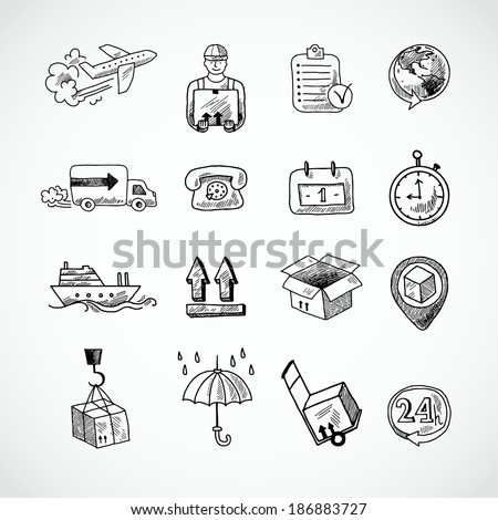 Logistic shipping freight service supply hand drawn doodle icons set isolated vector illustration - stock vector