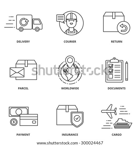 Logistics and delivery vector icons set modern line style - stock vector