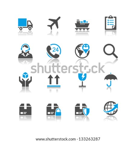 Logistics and shipping icons reflection theme - stock vector