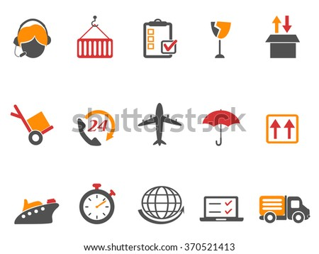 logistics and shipping icons set orange color series - stock vector