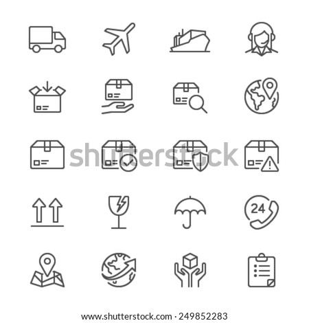 Logistics and shipping thin icons - stock vector