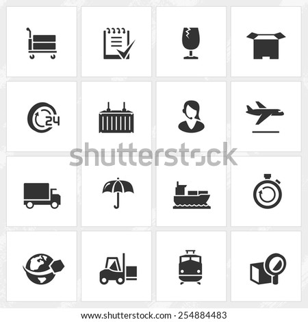 Logistics and transportation vector icons. - stock vector