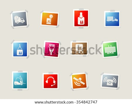 Logistics card icons for web - stock vector