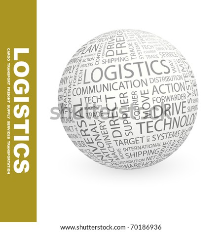 LOGISTICS. Globe with different association terms. - stock vector