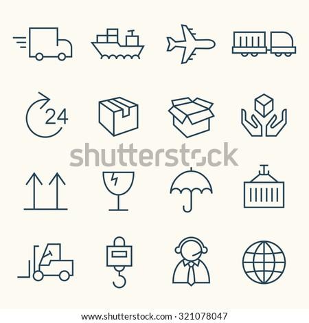 Logistics icon set - stock vector