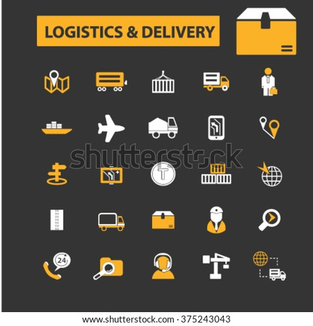 logistics icons, logistics concept, delivery icon, logistics logo, shipping vector  - stock vector