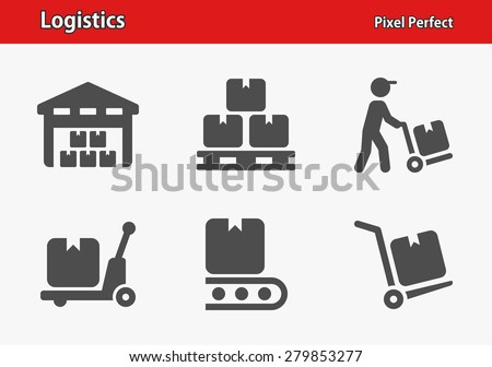 Logistics Icons. Professional, pixel perfect icons optimized for both large and small resolutions. EPS 8 format. Designed at 32 x 32 pixels. - stock vector