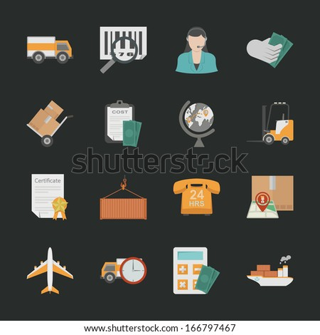 Logistics icons with black background , eps10 vector format - stock vector