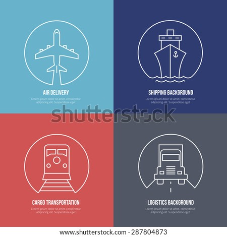 Logistics line icons. Airmail and cargo transportation, delivery and shipping. Freight business, express send and deliver, vector illustration - stock vector