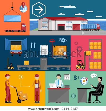 Logistics process. Delivery truck. Logistics management. Logistics concept. Online logistics management. Logistic transport. Logistics infographics. Logistics warehouse. Logistics flat illustration. - stock vector